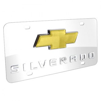 iPickimage® - 3D Silverado Logo on Chrome Stainless Steel License Plate with New Gold Bowtie