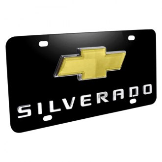 iPickimage® - 3D Silverado Logo on Black Stainless Steel License Plate with New Gold Bowtie