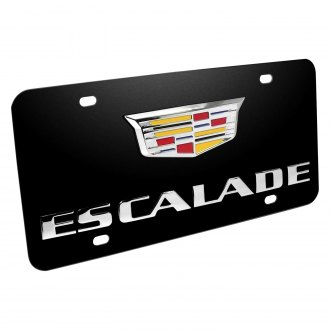 iPickimage® - 3D Escalade New Logo on Black Stainless Steel License Plate