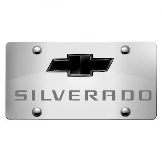 iPickimage® - 3D Silverado Logo on Chrome Stainless Steel License Plate with Black Bowtie