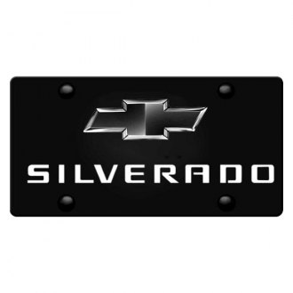 iPickimage® - 3D Silverado Logo on Black Stainless Steel License Plate with Black Bowtie