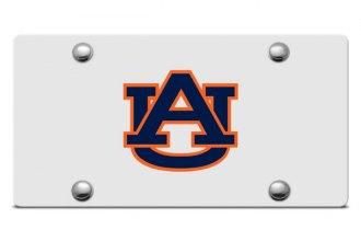 DWD® - Auburn AU Logo on Silver Laser Cut License Plate