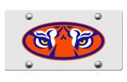 DWD� - Tiger Eyes Logo on Silver Laser Cut License Plate
