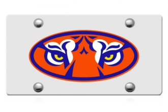 DWD® - Tiger Eyes Logo on Silver Laser Cut License Plate