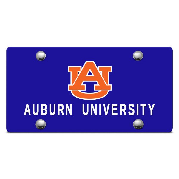 DWD® - Auburn University Logo on Blue Laser Cut License Plate