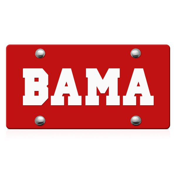 DWD® - Bama Logo on Red Laser Cut License Plate