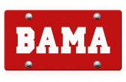 DWD� - Bama Logo on Red Laser Cut License Plate