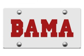 DWD® - Bama Logo on Silver Laser Cut License Plate