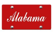 DWD� - Alabama Script Logo on Red Laser Cut License Plate