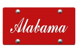 DWD® - Alabama Script Logo on Red Laser Cut License Plate
