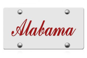DWD® - Alabama Script Logo on Silver Laser Cut License Plate