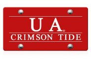 DWD� - UA Crimson Tide Logo on Red Laser Cut License Plate