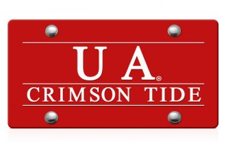 DWD® - UA Crimson Tide Logo on Red Laser Cut License Plate
