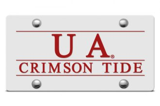 DWD® - UA Crimson Tide Logo on Silver Laser Cut License Plate