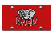 DWD� - Big Al Bama Logo on Red Laser Cut License Plate