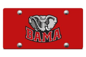DWD® - Big Al Bama Logo on Red Laser Cut License Plate