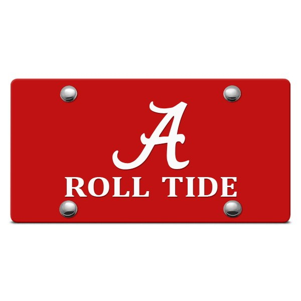 DWD® - Alabama A Roll Tide Logo on Red Laser Cut License Plate