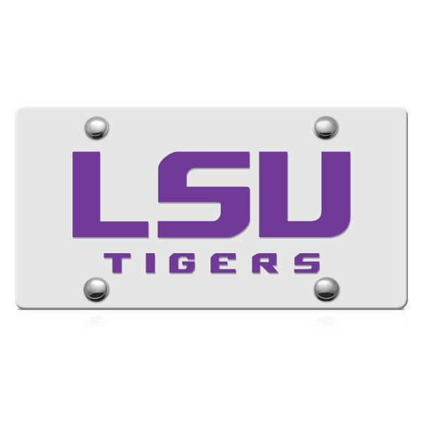 DWD® - LSU Tigers Logo on Silver Laser Cut License Plate