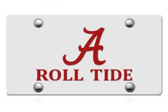 DWD® - Alabama A Roll Tide Logo on Silver Laser Cut License Plate