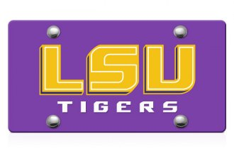 DWD® - LSU Tigers Logo on Purple Laser Cut License Plate