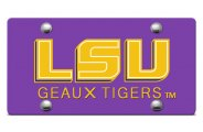 DWD� - LSU Geaux Tigers Logo on Purple Laser Cut License Plate