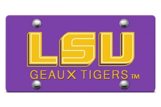 DWD® - LSU Geaux Tigers Logo on Purple Laser Cut License Plate