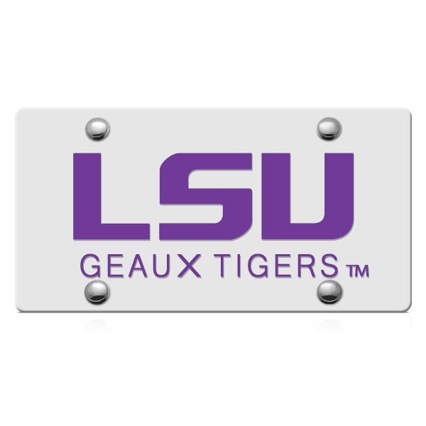 DWD® - LSU Geaux Tigers Logo on Silver Laser Cut License Plate