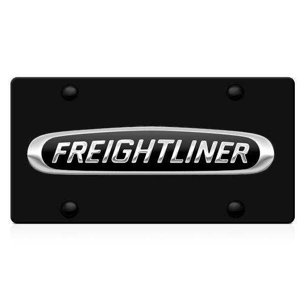 DWD® - 3D Freightliner Logo on Black Stainless Steel License Plate