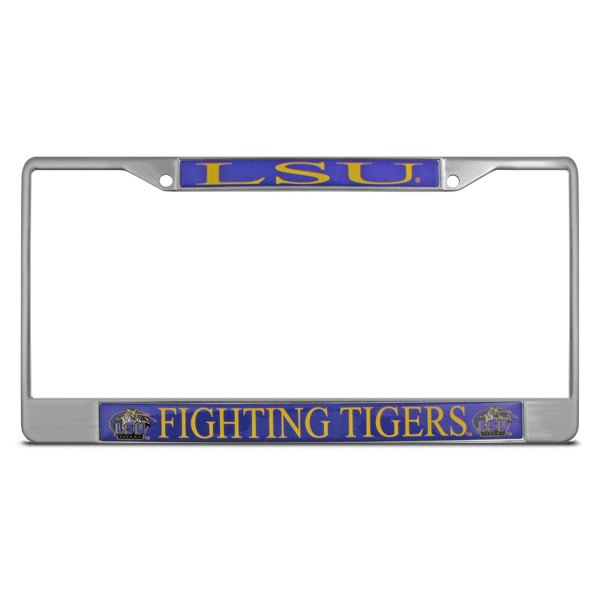 DWD® - LSU Fighting Tigers Logo on Chrome License Plate Frame