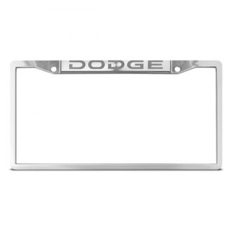 DWD® - Dodge Logo on Chrome License Plate Frame (Top)