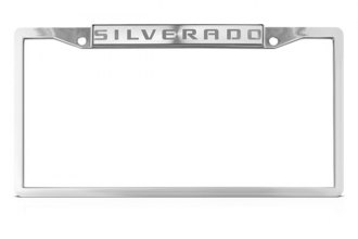 DWD® - Silverado Logo on Chrome License Plate Frame