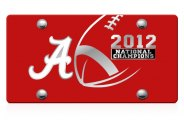 DWD® - Alabama 2012 National Champions Logo on Red Laser Cut Plexi Plate
