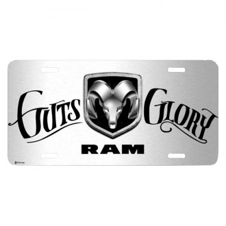 iPickimage® - 3D RAM Logo on Guts-Glory Script Graphic Brushed Aluminum License Plate