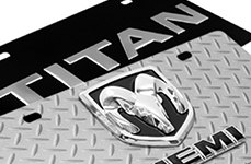 DWD 3D Logo on Stainless Steel License Plate: Dodge Ram, Nissan Titan