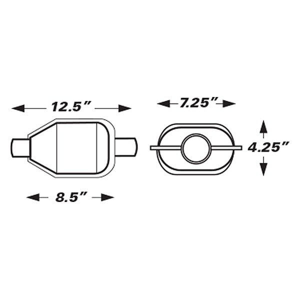 Eastern® - Gas Universal Catalytic Converter Dimensions