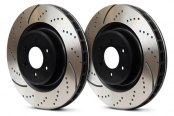 Image may not reflect your exact vehicle! EBC® - 3GD Series Sport Dimpled and Slotted 1-Piece Brake Rotors