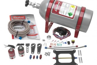 Edelbrock® - Performer RPM II Single-Stage Silver Powdercoat Nitrous Plate System Kit For Square-Bore Carburetors
