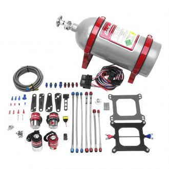 Edelbrock® - Performer RPM II Dual-Stage Silver Powdercoat Nitrous Plate System Kit For 4500 Series Carburetors