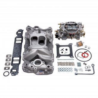 Edelbrock® - Performer™ Air-Gap Single-Quad Satin Intake Manifold and Carburetor Kit
