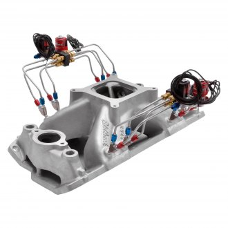 Edelbrock® - Super Victor™ Satin Single Plane Intake Manifold with Pre-Assembled Direct Port Nitrous System