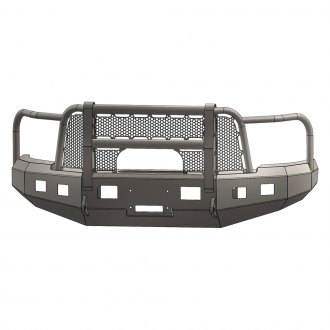 ENGO® - Full Width Black Front Winch HD Bumper with Grille Guard and Mesh Insert