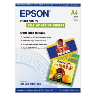 "Epson® - 8.3"" x 11.7"" Photo Quality Self Adhesive Sheets"