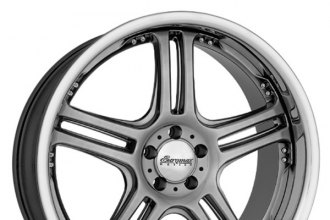 "EUROMAX® - 515 Chromium Black with SS Lip (20"" x 8.5"", +35 Offset, 6x139.7 Bolt Pattern, 108mm Hub)"