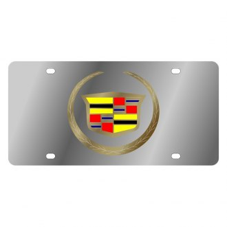 Eurosport Daytona® - GM Polished License Plate with Gold Cadillac Emblem