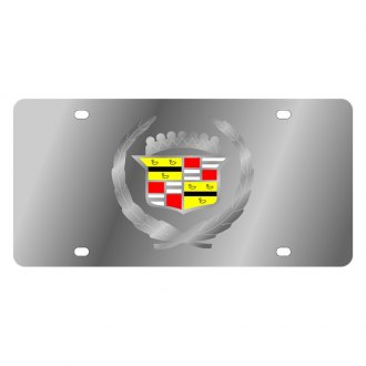 Eurosport Daytona® - GM Polished License Plate with Silver Cadillac New Emblem