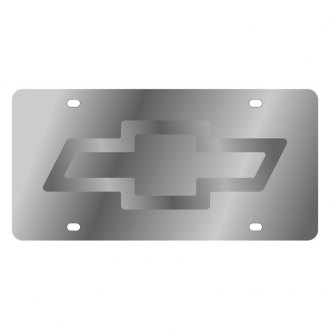 Eurosport Daytona® - GM Polished License Plate with Silver Chevrolet Emblem