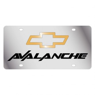 Eurosport Daytona® - GM Polished License Plate with Black Avalanche Logo and Chevrolet Emblem