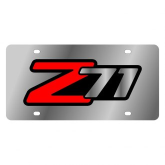 Eurosport Daytona® - GM Polished License Plate with Style 1 Red / Silver / Black Z71 Logo