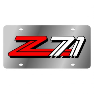 Eurosport Daytona® - GM Polished License Plate with Style 2 Red / White / Black Z71 Logo