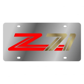Eurosport Daytona® - GM Polished License Plate with Style 3 Gold / Red Z71 Logo